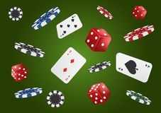 Playing cards, poker chips and dice fly casino on classic green background. Poker casino vector illustration. Online casino game royalty free illustration