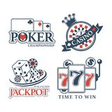 Poker championship at casino isolated promotional emblems set. Poker championship at casino Jackpot promotional emblems isolated vector illustrations set on Royalty Free Stock Photo