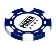 Poker Chip. Blue poker chip isolated on a white background with clipping path Royalty Free Stock Image