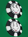 Poker chip. With euro and dollar face Stock Image