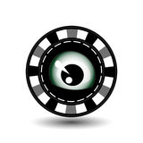 Poker chip Christmas. Gray. The eye looks in the middle. Illustration . Use for the site, printing, paper, cloth, decoration Royalty Free Stock Photo