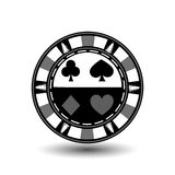 Poker chip Christmas. Gray. With a spade, diamond, club, and the heart of the suit in the middle  on the sides  trees  Illustratio. Poker chip Christmas. Gray Stock Images
