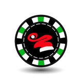 Poker chip Christmas. Green. Cap of Santa Claus in the middle. Illustration . Use for the site, printing, paper, cloth, deco Royalty Free Stock Photography
