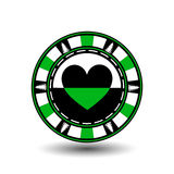 Poker chip Christmas. Green. From the heart of the suit in the middle and on the sides trees Illustration . Use for the si. Poker chip Christmas. Green. From the stock illustration