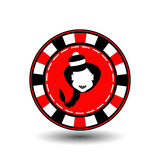 Poker chip Christmas new year. Icon EPS 10  illustration on a white background to separate easily. Use for websites, design,. Decoration, printing, etc. Girl Stock Image