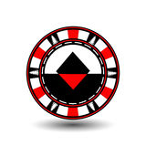 Poker chip Christmas. Red. With diamond suit in the middle and on the sides of trees Illustration . Use for the site, print. Poker chip Christmas. Red. With royalty free illustration