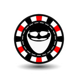 Poker chip Christmas. Red. With Santa Claus white glasses in between. Illustration . Use for the site, printing, paper, clot Stock Photography