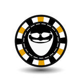 Poker chip Christmas. Yellow. With Santa Claus white glasses in between. Illustration . Use for the site, printing, paper, c Stock Photography