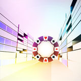 Poker chip in colorful casino city street  Royalty Free Stock Photo