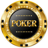 Poker chip. Poker golden chip with brilliants royalty free illustration