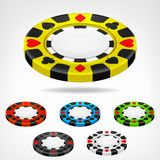 Poker chip isometric color set 3D object  Royalty Free Stock Photo