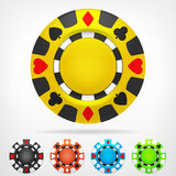 Poker chip isometric color set 3D object  Stock Photos