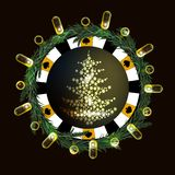 Poker chip New Year on a dark background. With a glowing lantern. with a yellow fir tree in the middle Stock Photo