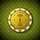 Poker chip nominal one, on card symbol background.  Royalty Free Stock Image