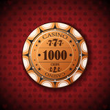 Poker chip nominal, one thousand on card symbol background.  Stock Illustration