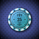 Poker chip nominal twenty five, on card symbol background.  Royalty Free Stock Photography