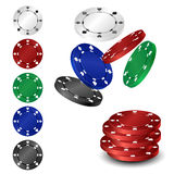 Poker chip set. Falling and in column isolated on white royalty free illustration