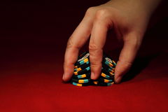 Poker chip shuffle stock photography
