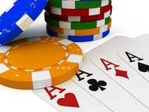 Poker chip stack. 3d illustration of a poker chip stack with four aces Royalty Free Stock Image