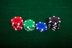 Poker chip stacks Stock Photos