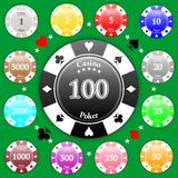 Poker Chips. Set of poker chips of value from 1 to 5000 stock illustration