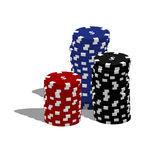 Poker chips. Stacked on a white background Stock Photos
