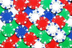 Poker chips. An array of colorful poker chips Stock Images