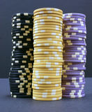 Poker Chips. Three stacks of colorful poker chips Stock Image