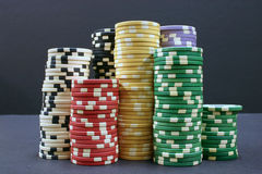 Poker Chips. Several stacks of colorful poker chips Stock Photography