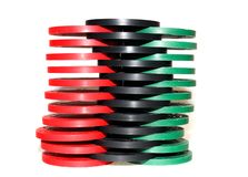 Poker Chips. Three shuffled stacks of colorful poker chips Stock Photos