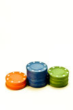 Poker chips. Three stacks of red, blue and green poker chips Stock Images
