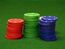Poker chips. On green felt Stock Image