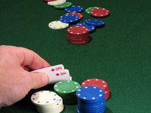 Poker chips. And good hand Stock Images