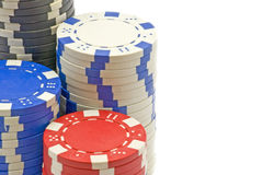 Poker chips. Four different chips for poker games Royalty Free Stock Image