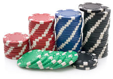 Poker chips. Isolated on white background Royalty Free Stock Image
