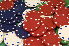 Poker Chips. Table full of poker chips Stock Photos