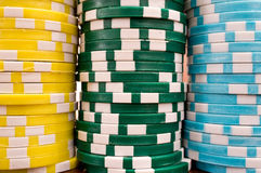 Poker Chips. Stacks of colourful poker chips Royalty Free Stock Image