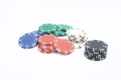 Poker chips. On the table Royalty Free Stock Photos