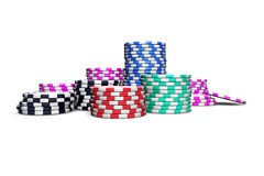 Poker Chips. Isolated on white background. For magazines, banners, webpages, flyers, etc Royalty Free Stock Photos