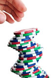 Poker chips. Isolated on a white background royalty free stock photography