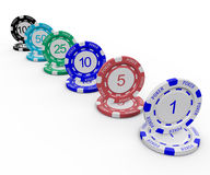 Poker Chips. 3D Poker chips with numbers on white background Stock Images