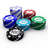 Poker Chips. 3D Poker chips with numbers on white background Stock Photo