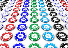 Poker Chips. 3D Poker chips with numbers on white background Royalty Free Stock Photo