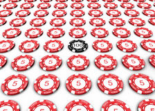 Poker Chips. 3D Poker chips with numbers on white background Royalty Free Stock Images
