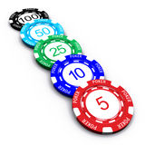 Poker Chips. 3D Poker chips with numbers on white background Stock Image