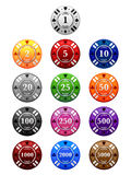 Poker Chips. A set of poker chips in the standard denominations and colors royalty free illustration