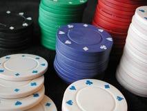 Poker chips. Macro of stacks of poker chips Stock Images