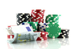 Poker chips with 5 euro banknote Stock Photos