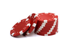 Poker Chips. Red Poker Chips on white background Stock Photo