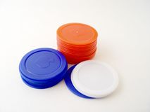 Poker Chips. On white background royalty free stock photo
